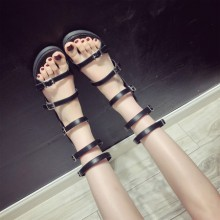 Women Korean Trending Long Tube Roman Strap Flat Sandals