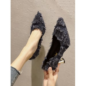 Women Korean Shallow Mouth Tassel Pointed Heels