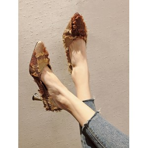 Women Korean Shallow Mouth Tassel Pointed Heels
