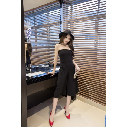 Women Trendy Slim Wrapped Chest Tube Jumpsuit Trousers