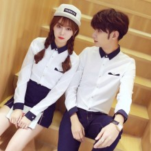 Men's Korean  Couples Trend Lovers Slim  Polo Collar Long Sleeve