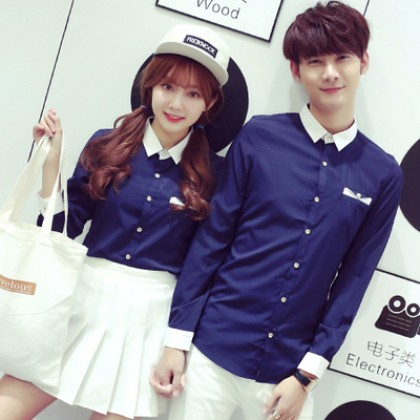 Men's Korean  Couples Trend Lovers Slim  Polo Collar Long Sleeve