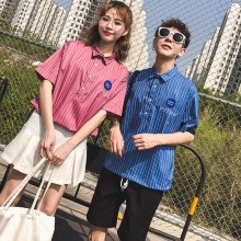 Men's Trendy Couple's Japanese Retro Style Striped short Sleeved Shirt