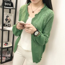 Women Korean Sweet Loose Harajuku Short Hollow Cardigan Sweater