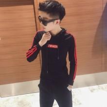 Men's Korean Trend Youth Pop Zipper Sweater with Hood