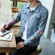Men's Long Sleeved Denim  Jacket with Mulitple Pocket Style