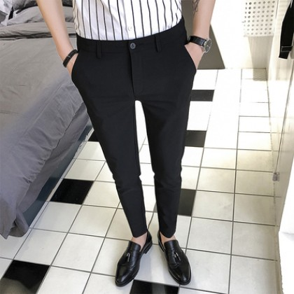 Men's Korean Trend Slim Suit Low Waist  Tapered Pants