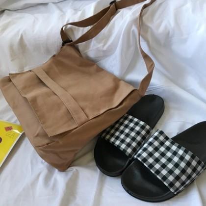 Men's Korean Trend Retro Foldable Canvas Messenger Shoulder Bag