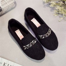 Women Korean Wild Flats Sequin Bow Peas Shoes Plus Size