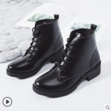 Women Korean Fashion Cross Strap Thick-Bottom  Martin Boots Plus Size