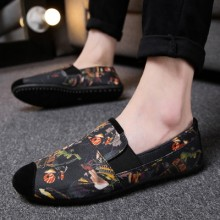 Men's Korean Wild Style Printed Canvas Casual Peas Shoes