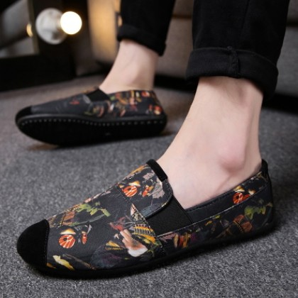Men's Korean Wild Style Printed Canvas Casual Peas Shoes
