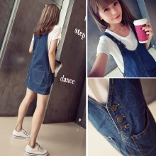 Women Korean Fashion Thin Denim Strap Loose Waist Dress Plus Size