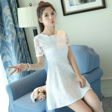 Women Korean Fashion  Slim Waist Short Sleeved Zipper lace dress