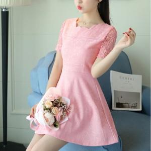 Women Korean Fashion  Slim Waist Short Sleeved Zipper lace dress