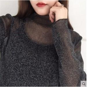 Women Korean Fashion  Fishing Net Long Sleeved Lace Top