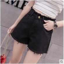 Women Korean Trend High Waist Denim Wide Leg Hot Shorts
