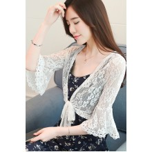 Women Korean Fashion Wild Style  Bell Sleeve Lace Shawl Coat