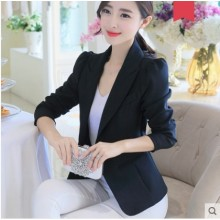 Women Korean Fashion  One Button Suit Collar Casual Jacket