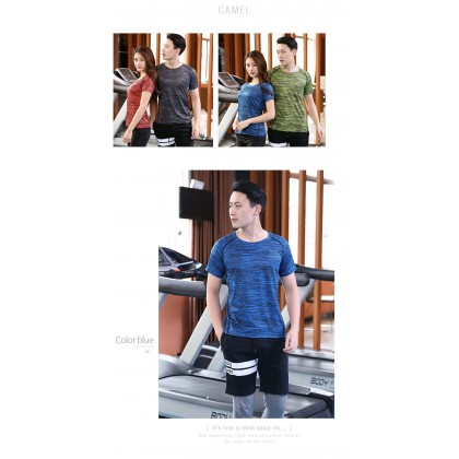 Men's  Fitness Couple  Quick Drying Round Neck Short Sleeved T-Shirt