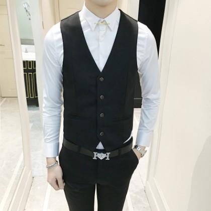 Men's Korean Fashion Slim Fit Wedding and Formal Wear Vest Suit Jacket Plus Size