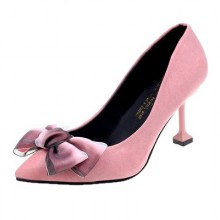 Women Korean Fashion Sexy Bow Suede Pointed Stiletto High Heels