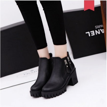 Women Korean Fashion Retro High Heeled Martin Boots