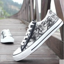 Men's Korean Trend Casual Graffiti Cloth Shoes