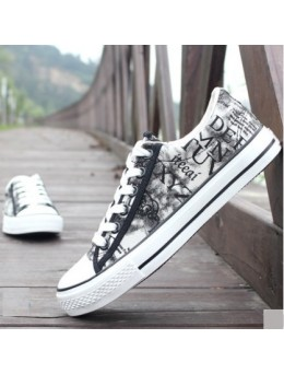 Men's Korean Trend Casual Graffiti Cloth Shoes