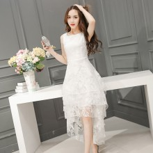 Women Korean Fashion  Floral Long Back Lace Dress Plus Size
