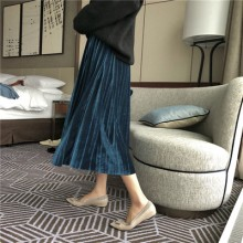 Women Korean Fashion High Waist Pleated Mid Length Skirt