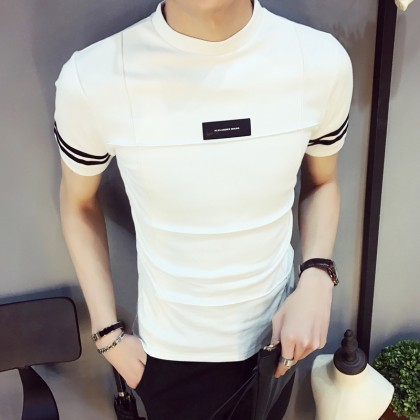 Men's Korean Trend Youth Pop Tight Fitting High Collar TShirt