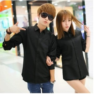 Men's Korean Youth Pop Super Slim Pointed Collar Long Sleeve