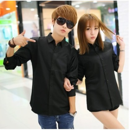 Men's Korean Youth Pop Super Slim Pointed Collar Long Sleeve