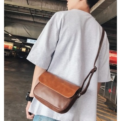 Men Japanese Trend Leather Shoulder Bag