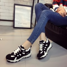 Women Korean Wild Style Breathable Lace up  Sports Rubber Shoes