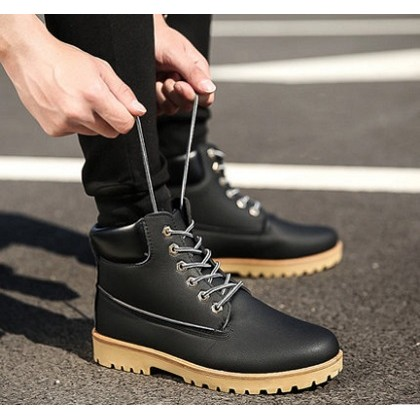 Men's Korean  Fashion New Casual High Cut Tooling Boots