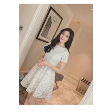 Women Korean Fashion Retro Short Sleeve Lace Princess Dress Plus Size