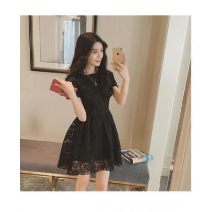 Women Korean Fashion Retro Short Sleeve Lace Princess Dress Plus Size