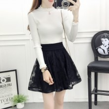 Women Korean Fashion High Waist Mesh Skirt With Shorts
