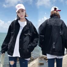 Women Korean Fashion  Denim Loose Hole Polo Collar Jacket