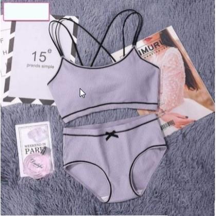 241285434eb0 Women Korean Fashion Sweet Style No Underwire Bra Set