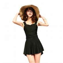 Women Korean Fashion One Piece Conservative Skirt Style Swimsuit