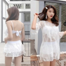 Women Korean Fashion Three Piece Sexy Lace Swimwear