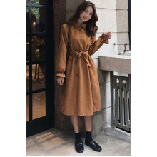 Women Korean Fashion Retro High Waist Polo Collar Petal Sleeve Dress