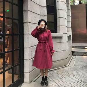 Women Korean Fashion Retro High Waist Polo Collar Petal Sleeve Dress