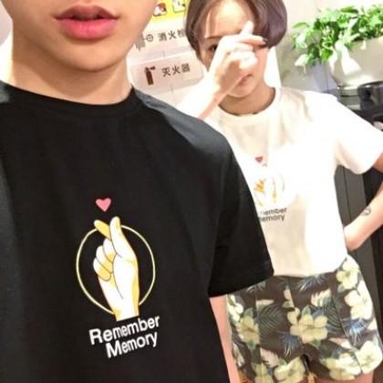 Men's Korean Trend  Round Neck Harajuku Style Couples Love Shirt