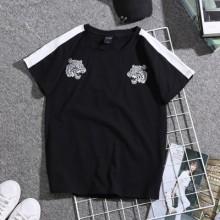 Men's Korean Trend  Round Neck Loose Embroidered Summer Shirt
