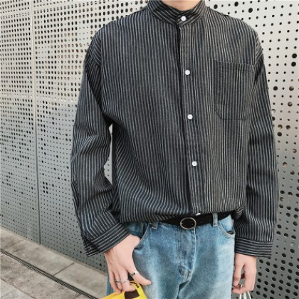 Men's Korean Trend  Long Sleeve  Pointed Collar Youth Style Shirt