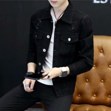 Men's Korean Trend Youth Pop Denim  Washed Long Sleeve Jacket